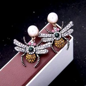 Jewelry - Bee Insect Faux Pearl Crystal Statement Earrings